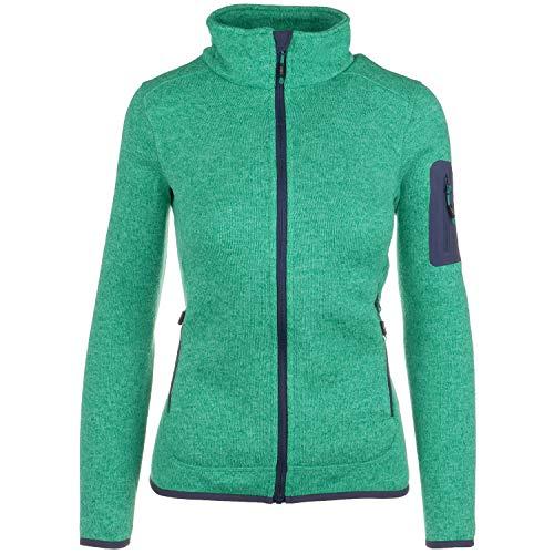Fleece Hoody Jacke (Strickfleece-Sweatjacke-Outdoor Jacke CMP Damen mit Fleece-Innenausstattung Stehkragen. viele Farben. Für Sport Arbeit Wandern Freizeit Abele, Größe:40, Farbe:grün-schwarz)