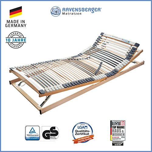 RAVENSBERGER MEDIMED® 44-Leisten 7-Zonen-BUCHE-Lattenrahmen | Verstellbar | Made IN Germany - 10 Jahre GARANTIE | TÜV/GS + Blauer Engel - Zertifiziert | 100 x 200 cm - Lkw Matratze