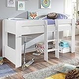 Relita Halbhohes Kinderbett in weiß ● inkl. Leiter ● Spielbett mit 90x200cm Liegefläche