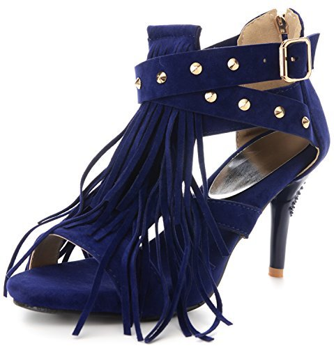 Odema Sandali di cintura della caviglia delle rivive di Fringe della camicia di delle donne Blu