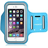 MoKo Sports Armband for iPhone 6s Plus / iPhone 6 Plus, Samsung Galaxy Note 5 / S6 edge+, Droid Turbo and LG G4, Card Slot, Sweat-proof, Azul Claro (Size L, Compatible with Cellphones up to 5.7 Inch)