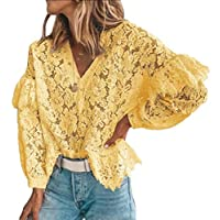Women's Casual Loose 3/4 Sleeve Sexy Sheer Floral Lace Blouse Top Yellow XXS