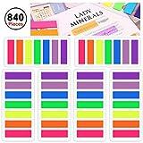 840 Stück Farbige Klein Haftnotizen, 6 Set Beschreibbar Transparent Haftmarker, 8 x 45 mm Lesezeichen Textmarker Streifen für Seitenmarkierung im Studie Büro ( 7 Farbe )