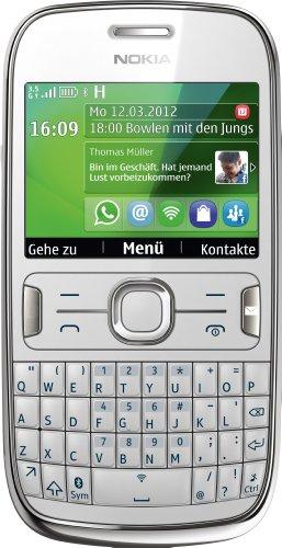 Nokia Nokia Asha 302 Smartphone (6,1 cm (2,4 Zoll) Display, 3,2 Megapixel Kamera, UMTS, QWERTZ-Tastatur) weiß