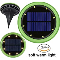Pack de 2 unidades de energía solar en luces de tierra Versión mejorada, Latta Alvor 8 LED Jardín Solar Luces de camino para luces de patio de ruta de paisaje solar al aire libre