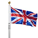 Voilamart 20ft Aluminium Sektionaltor Fahnenstange Teleskop privaten Commercial Flagge Pole Kit mit UK Union Jack Flagge Outdoor