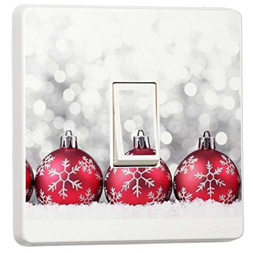 stika.co Weihnachten Deko-Single Lichtschalter Vinyl Aufkleber-Winter Weihnachts Feiertage Red Ornament Globes
