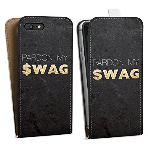 Apple iPhone X Silikon Hülle Case Schutzhülle Pardon Swag Glitter Downflip Tasche weiß