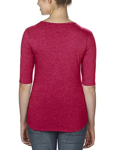 Anvil 6756L - T-shirt - Uni - Manches 3/4 - Femme Rouge (Heather Red)