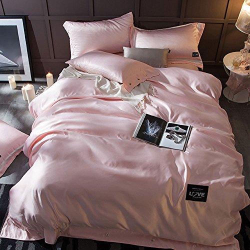 Vierteilige Sommer-Set Von Vier Europäischen Stil Gewaschene Seide Baumwolle Bett Vierteilige Baumwolle Einfache Luxus Einfarbig Bettwäsche 1,8 M 2,0 M Bett ( Farbe : A1 , größe : King size ) (Seide-bett-abdeckung)