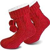 normani Damen Warme Dicke Wintersocken mit Innenfell Teddyfutter und Antirutschsohle Farbe Rot Größe 40/44