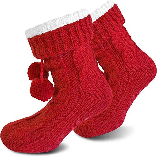 Il Regalo Perfetto! Pantofole Molto Calde Con Fodera In Pelliccia E Suola In Abs Rossa