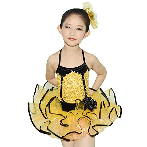 MiDee Ballett Tutu Tanz Kostüm 2 Stück 3 Farben Kleid Für Kleines Mädchen (Gelb, (Tanz Stück Kinder Lyrische Für 2 Kostüme)