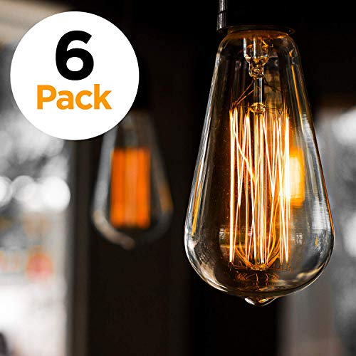 6er-Pack Edison Glühbirne, Antik Vintage Style Light, bernsteinfarben, warm, dimmbar(60w/220v) -