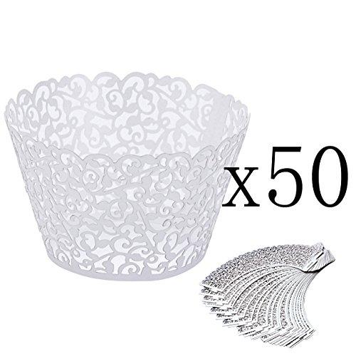 ke Wrappers Hohl Cupcakeförmchen Kuchen Pappbecher Verpackungen Kuchenverpackung für Hochzeit Geburtstag feiern Baby Dusche Dekoration (Weiß) ()