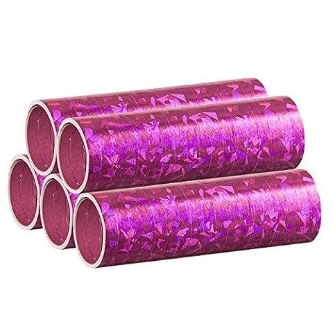 Pinke Metallic Luftschlangen im 5er Sparpack - 5 Rollen mit je 18 holografisch-glitzernden Luftschlangen - für Karneval, Fasching, Geburtstag, Silvester, Dekoration Rosa - PARTYMARTY