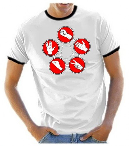 Pierre-ciseaux-lézard-spock de la série bIG bANG tHEORY t-shirt pour homme couleurs assorties-femme-taille - Blanc