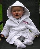 Baby Peignoir à capuche personnalisé blanc avec nom de 0–9 mois