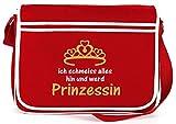 Shirtstreet24, ICH WERD PRINZESSIN, Retro Messenger Bag Kuriertasche Umhängetasche , Größe: onesize,Rot