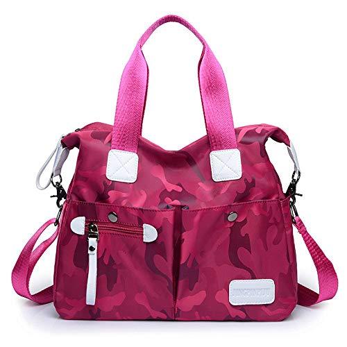 Weiblich Dame Reisetasche Nylon Oxford Handtasche Korean Canvas Bag Schulter Handtasche Griff Tasche (Farbe : Rosered, Größe : Einheitsgröße) -