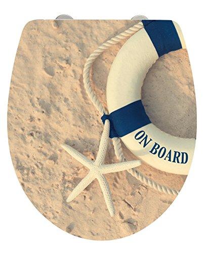 WENKO 22981100 WC-Sitz On Board, Toiletten-Sitz mit Absenkautomatik, rostfreie Fix-Clip Hygiene Edelstahlbefestigung, 39 x 46 cm, mehrfarbig