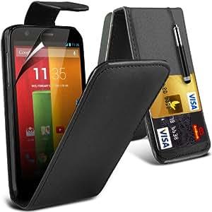 ONX3 Motorola Moto G Leather Flip Case + Retractable Pen +Screen Protector (schwarz)