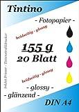 Tintino Fotopapier A4155g/m² glänzend auf beiden Seiten, soforttrocknend und wasserdicht Hohe Glanz für Tintenstrahldrucker 20Blatt/weiß glänzend