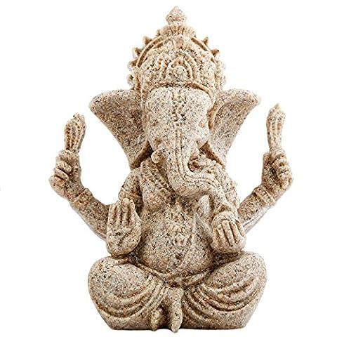 Shanxing Sandstone Ganesh Elephant Statue Sculpture Hand Carved Figurine Craft Home Decor