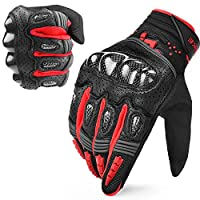 INBIKE Hard Knuckle Motorcycle Gloves Touch Screen Carbon Fiber Gloves Mens Large red IM803-Red-L