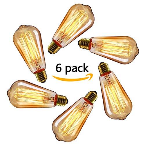 (Vintage Glühbirne E27, NUODIFAN 6x 40W Retro Edison Birne Squirrel Cage Stil Filament Lampe Amber Glas Dimmbar Warmweiß für Dekorative Beleuchtung und Antike Nostalgie)