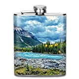 flasks Beautiful Snow Forest Landscape Outdoor Portable 304 Stainless Steel Leak-Proof Alcohol Whiskey Liquor Wine 7OZ Pot Hip Flask Travel Camping Flagon For Man Woman Flask Great Little Gift