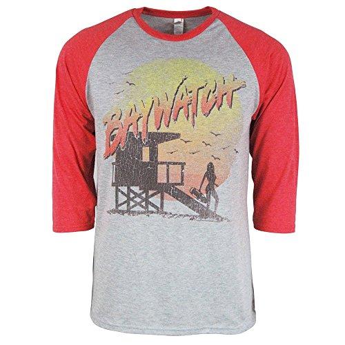 Offiziell Retro Jahrgang Baywatch 3/4 Hülse Raglan T Shirt Grau meliert für Männer XL - Brust 46-48 Zoll (117-122 cm) Heidekraut Grau mit Rot Ärmel