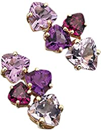 Elements Gold 9ct Yellow Gold Rose De France Amethyst, Amethyst and Brazilian Garnet Earrings