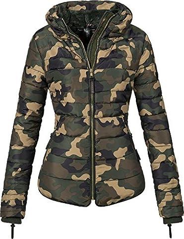 Marikoo Damen Jacke Winterjacke Steppjacke Amber (vegan hergestellt) Camouflage Gr. XS