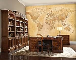 1 wall papier peint mural avec motif carte du monde vintage cuisine maison. Black Bedroom Furniture Sets. Home Design Ideas