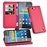 Cadorabo Hülle für Huawei G7 Hülle in Karmin Rot Handyhülle mit Kartenfach & Standfunktion Case Cover Schutzhülle Etui Tasche Book Klapp Style Karmin-Rot