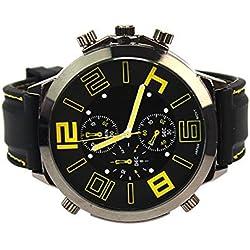 Men's Black Silicone Band Big Round Dial Army Sports Analog Quartz Sport Wrist Watch