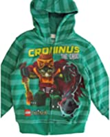 Lego Little Boys Green Two Tone Striped Chima Minifigures Zip Hooded Top 4-7