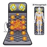 Coussin de siège de massage tout le corps - Masseur de dos avec fonction chaleur par vibration et tête de massage 30, 10 vibrations du moteur 9 modes de massage pour le soulagement des maux de dos