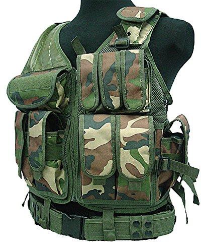 USMC SWAT Einsatzweste mit Koppel Jagd Molle Weste in verschiedene Farben (Woodland)