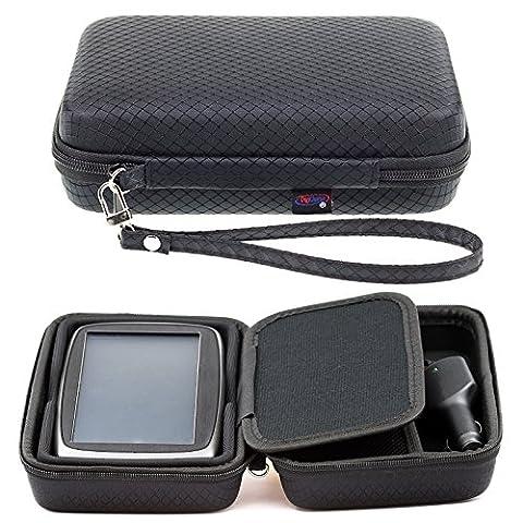 Noir Étui de transport rigide pour TomTom Start 6260via 6215,2cm GPS Sat Nav avec rangement pour accessoires et cordon