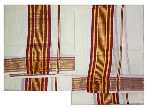 Sarees-Kerala Settum Mundum with Meroon brown border-NatureLoC Traditional Dress Mund Neriyath