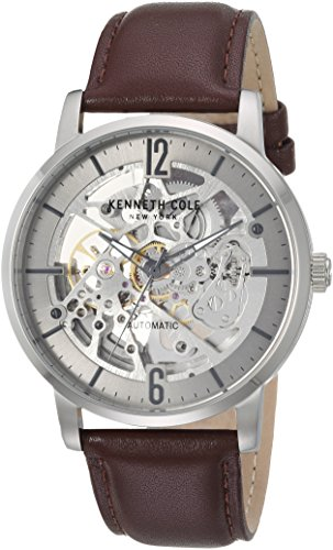 Kenneth Cole New York Herren Automatik Edelstahl und Leder Casual Uhr, Farbe: Braun (Modell: kc50054001) (Herren Kenneth Cole Uhren Braun)
