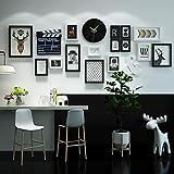 DONG Foto wand Fotorahmen Collage Nordic Foto Wand stilvolle Wanduhr Kombination Bilderrahmen Wand Clap-Stick dekorative Bilderrahmen 18 Stück Set ( Farbe : Schwarz und weiß )