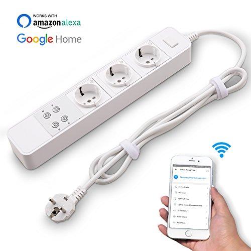 Swiftt 3-Fach Steckdosenleiste Intelligente Steckdose EU Stecker drahtlose intelligente Wifi Sockel Ausgänge für Android, für IOS, Kompatibel mit Alexa, Google Home, Timer Power, Sprachsteuerung