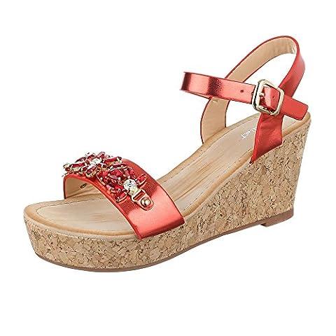 Keilsandaletten Damen Schuhe Plateau Keilabsatz/ Wedge Strass Besetzte Schnalle Ital-Design Sandalen / Sandaletten Rot, Gr 39,