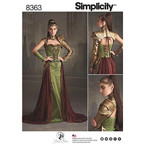Simplicity 14-16-18-20-22Damen Fantasy Ranger Kostüm Schnittmuster, - Korsetts Kostüm