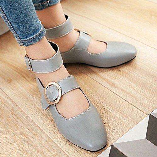 Jane Gris Cheville Femmes Talon Mode Chaussures Bas Mary Vintage COOLCEPT Chaussures qfp4wZStx