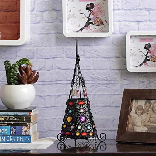 Aapno Rajasthan Wrought Iron Teepee Design Tea Light Holder With Colored Glass & Free Tealight For Diwali