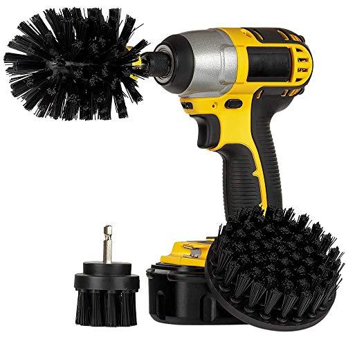 Bürstenaufsatz Bürsten für die Bohrmaschine - Universell passende Bürste für den Akkuschrauber - Scrubber Set bestehend aus 3 Bürsten mit unterschiedlichen Härtegraden (Black)